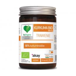 Kurkuma bio 500mg 50 kaps. BeOrganic Medicaline 90% kurkuminoidów Curcuma longa pieprz długi piperyna Piper Nigrum
