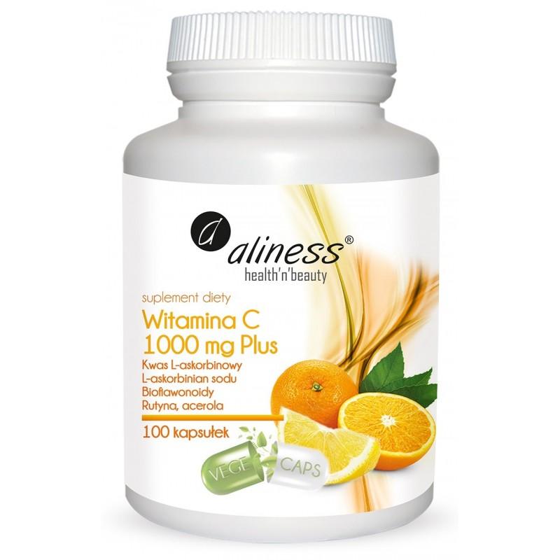 Witamina C 1000mg 100 kaps plus rutyna bioflawonoidy acerola kwas l askorbinowy l-askorbinian sodu hesperydyna Aliness VEGE