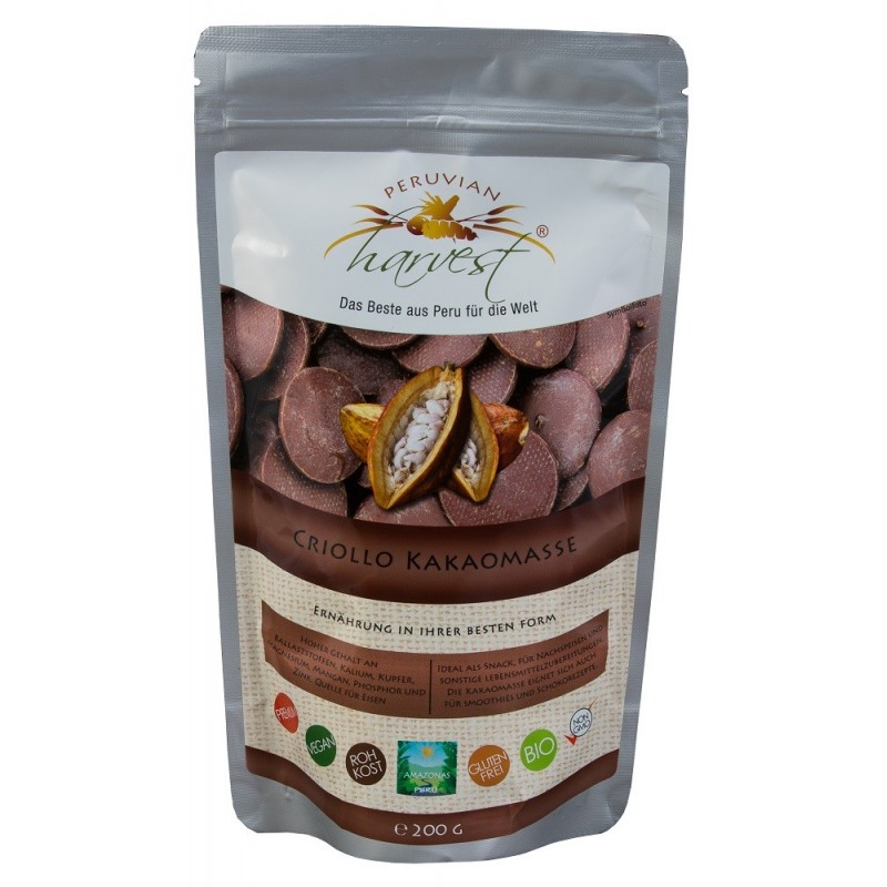 PH Masa Kakaowa Criollo - 200 g, EKO ekologiczne Kakao BIO Peru potas żelozo cynk magnez mangan miedź