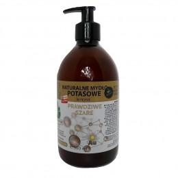 """Naturalne mydło potasowe """"Prawdziwe Szare"""" ze złotem monoatomowym w płynie 500 ml"""